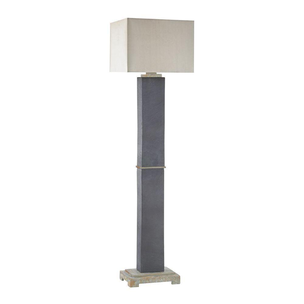 Grey Slate Outdoor Floor Lamp