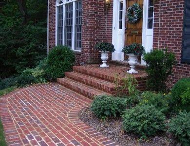 Stone Steps And Front Landing In The City Of Falls Church Brick Sidewalk Brick Patios Landscape Bricks