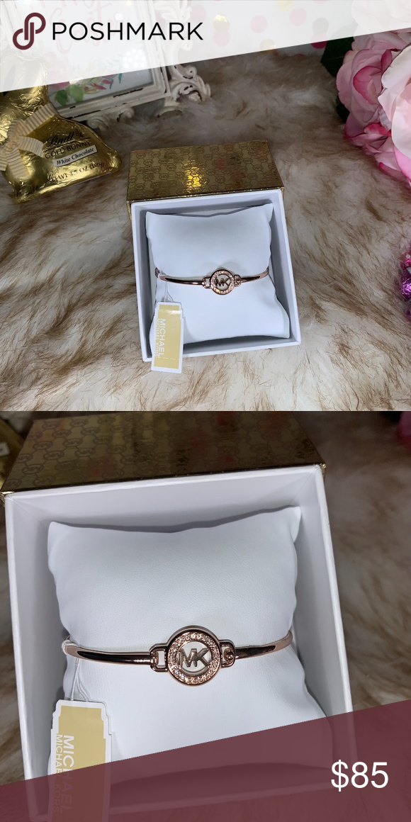 0a6e867f1d4d37 Michael Kors MK Logo Rose Gold Tone Bracelet Michael Kors MK Logo Rose Gold  Tone Bracelet exclusive MKJX6521791 MICHAEL Michael Kors Jewelry Bracelets