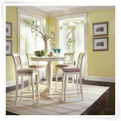 Perfect Round Pedestal Pub Table Set   White
