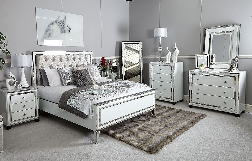 Madison White Glass 7 Drawer Mirrored Dressing Table Mirrored