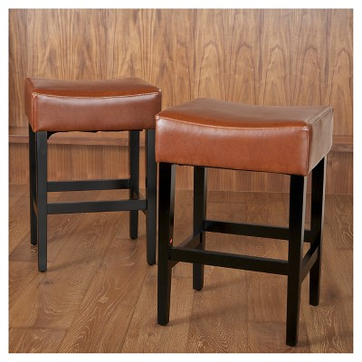 Lopez Backless Leather 25 5 Counter Stool Hazelnut Set Of 2 Christopher Knight Home Light Brown Leather Counter Stools Counter Stools Stool