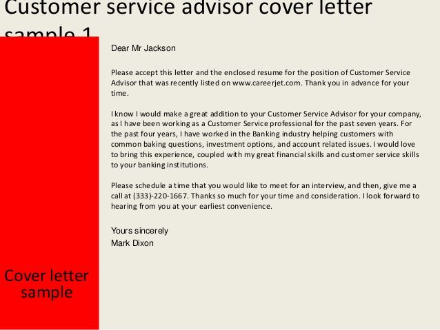 customer service advisor cover letter free application templates - letter to customer