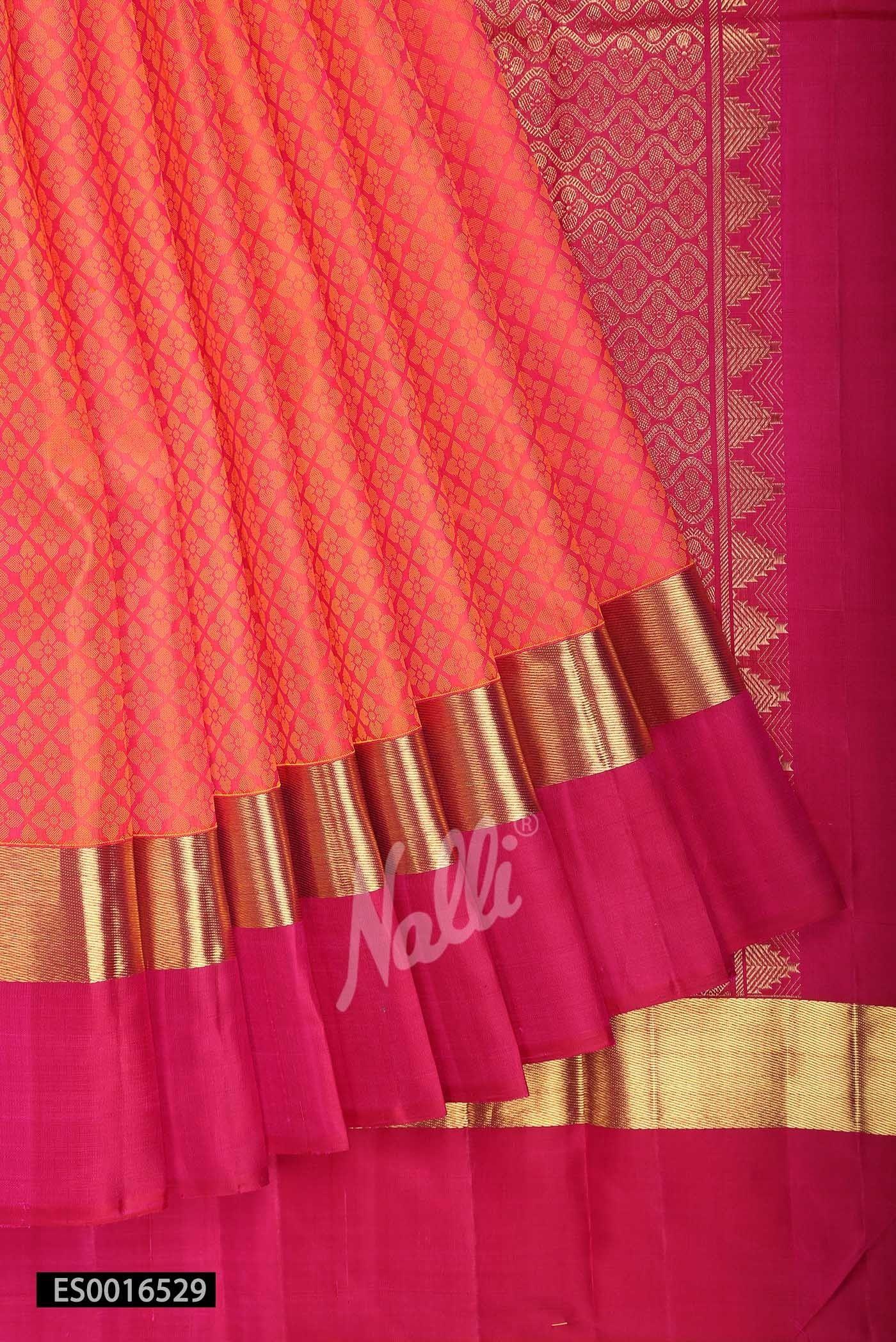 Pure silk saree 2018 orange kanchipuram silk saree  saree in   pinterest  silk