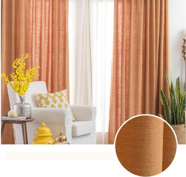 Linen Plain Orange Rust Colored Curtains In 2020