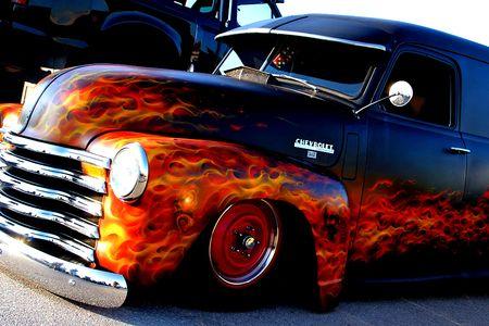 Custom Flames On Cars Flames On Custom Rod Chevrolet Cars