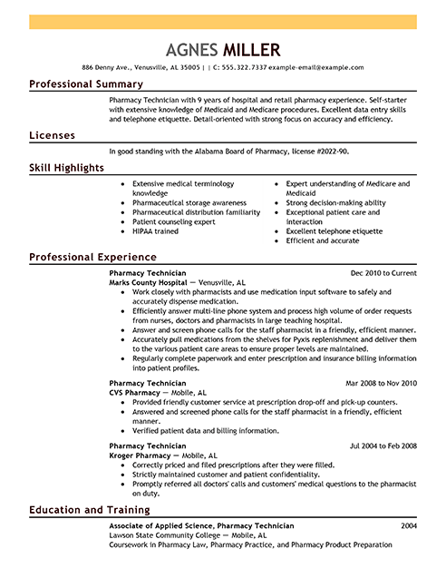 Pharmacist Resume Sample Pharmacy Technician Resume Examples  Medical Sample Resumes