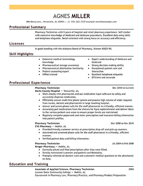Pharmacy Technician Resume Examples Medical Sample Resumes Livecareer Engineering Resume Engineering Resume Templates Resume Examples