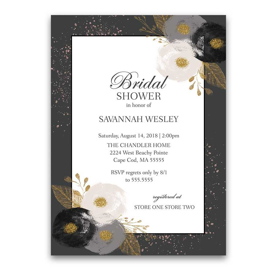 Floral Bridal Shower Invitations Blush Gold Glitter Loveliness ...
