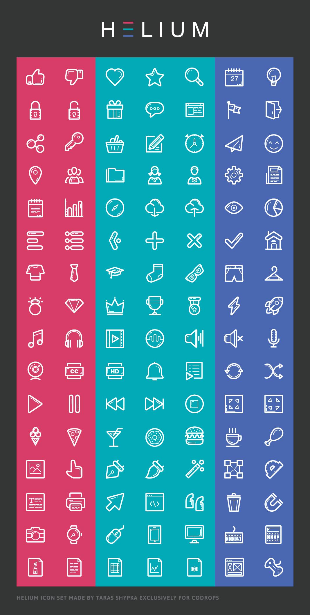 Helium Icon Set | Free stuff | Free icon fonts, Icon font