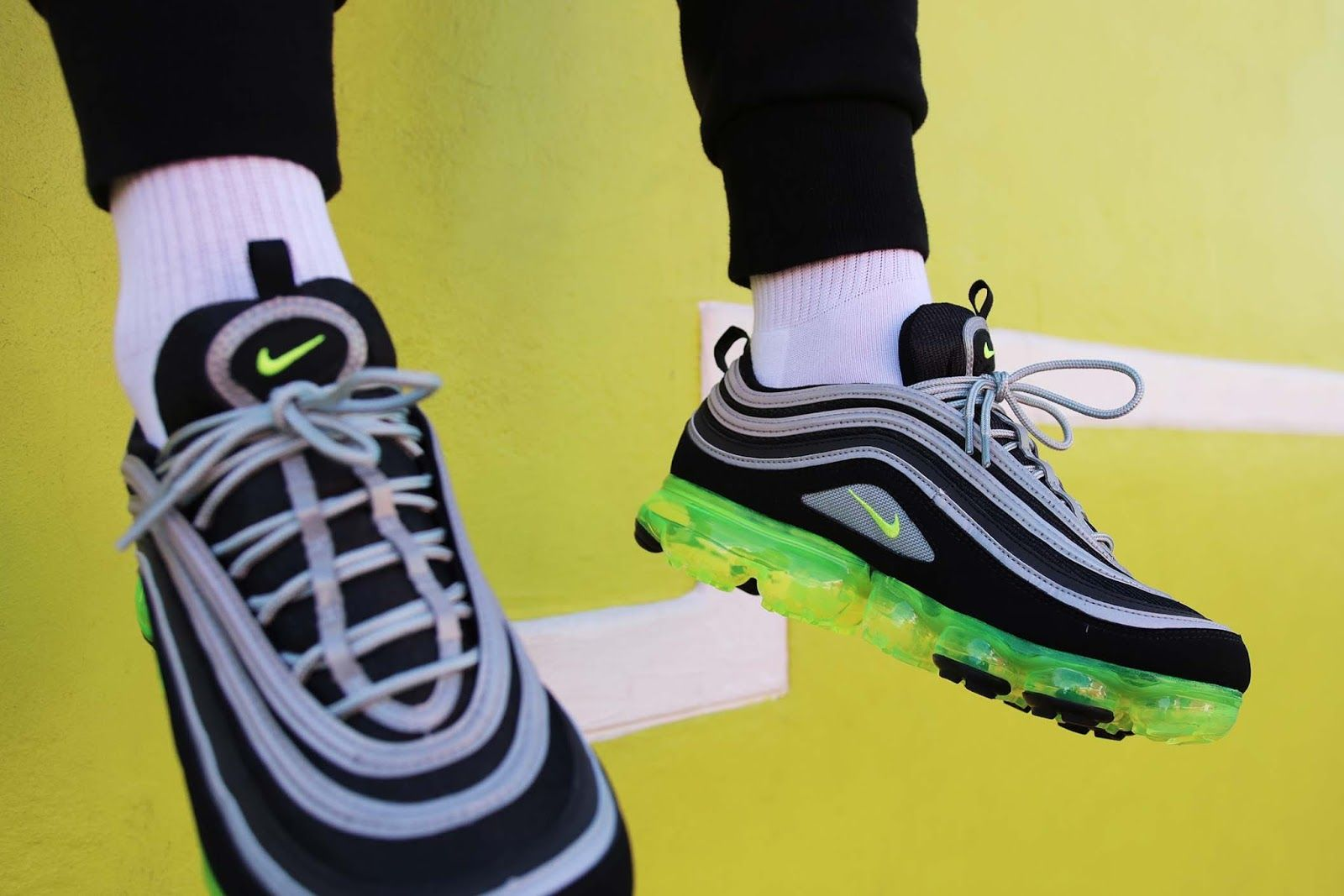 timeless design 1d85b ce653 The hybrid Nike Air VaporMax 97 is a new style that is releasing in the  classic Neon colourway which takes inspiration from the Air Max 9.