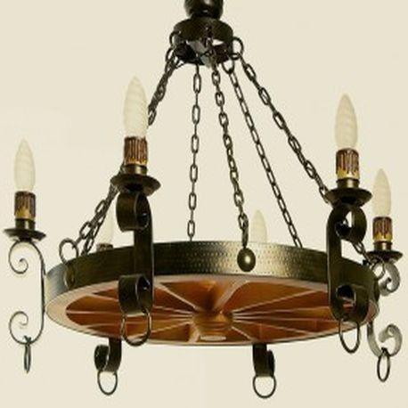 L mpara de forja de rueda con 6 luces descubra nuestro - Lamparas para cocinas rusticas ...