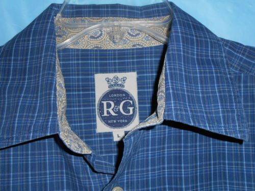R & G LONDON NEW YORK-Men Sz L Large- ROBERT GRAHAM-Button Up - L/S -Flip Cuff
