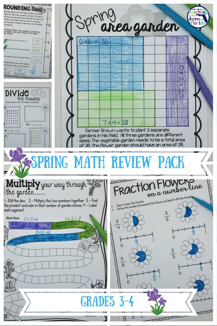 Math Review Worksheets for Spring {Fractions, Area, Mult., Division ...
