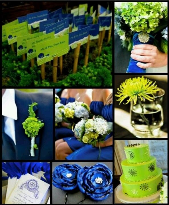 Lime Green Electric Cobalt Blue Wedding Colors Green Themed