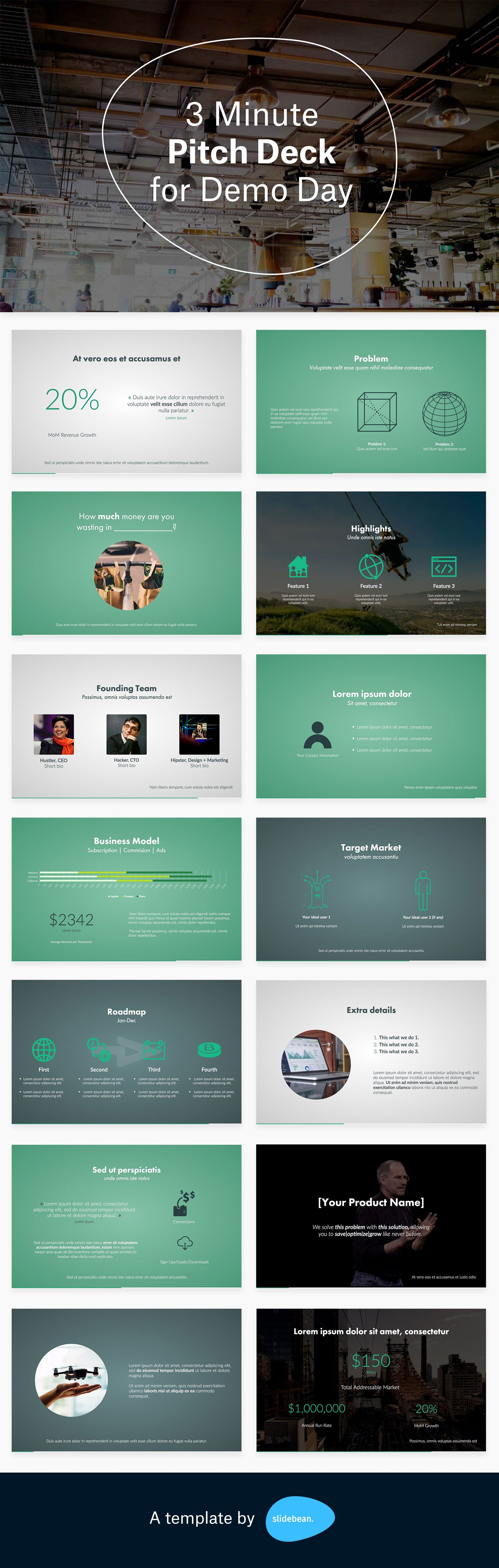 3 Minute Pitch Deck For Demo Day Free Presentation Templates