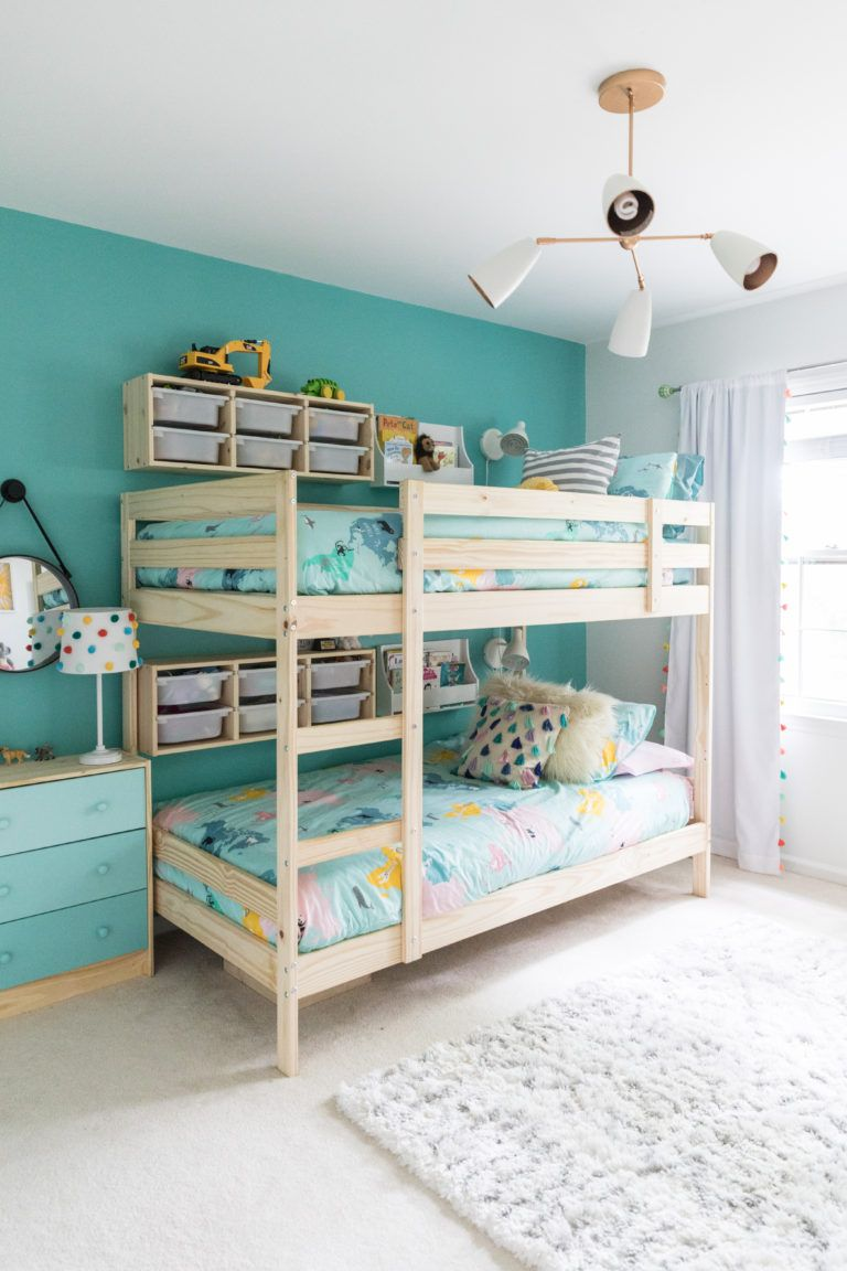 Boy Girl Room Under 500 Makeover Beth Barden Shared Girls Room Kids Shared Bedroom Shared Girls Bedroom