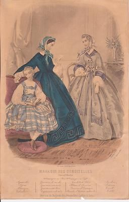 1861 French Fashion Print Girl 2 Ladies Bonnet Letter Book Hand Colored | eBay