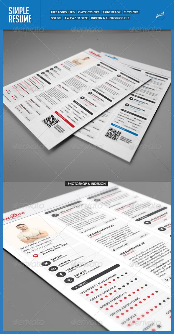 Simple 3 Columns Resume #GraphicRiver A simple 3 Columns Resume - a simple resume