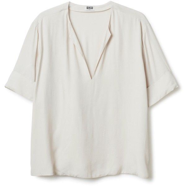 Adela blouse ❤ liked on Polyvore featuring tops, blouses, short-sleeve blouse, sleeve blouse, v neck blouse, short sleeve tops and v-neck tops