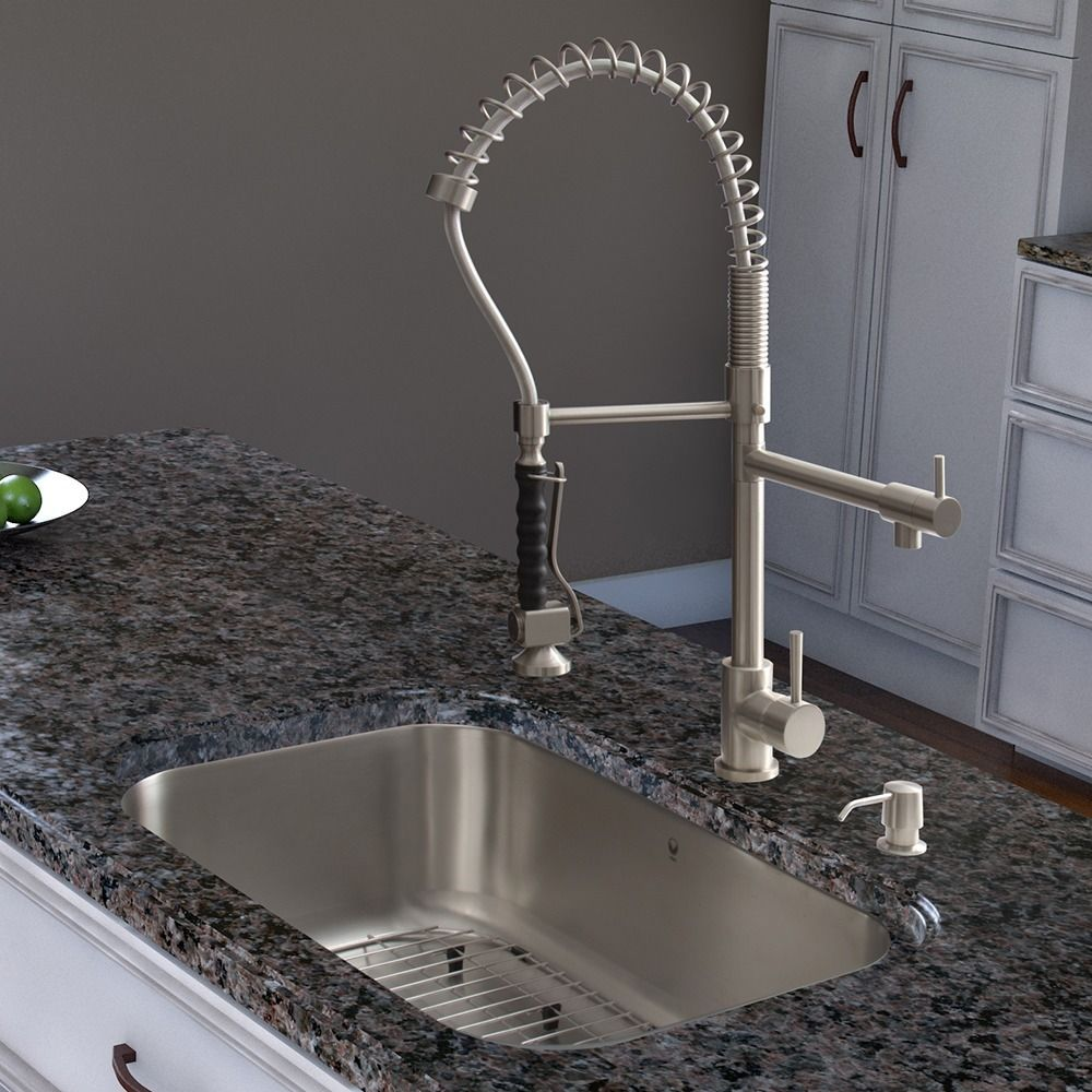 This Vigo pull-down spray kitchen faucet features an all-brass ...