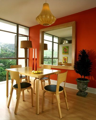 Contemporary Dining Room Orange Wall Colors Feng Shui Layout Furniture Ideas