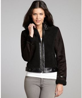 b8d7c4103e Members Only black faux-shearling, faux-suede, and faux-leather buckle  jacket on shopstyle.com