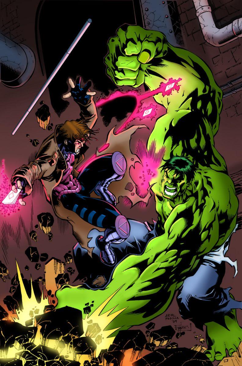Gambit Vs The Hulk By Arielpadilla And Aerisol Hulk Marvel Gambit Marvel Superhero Comic