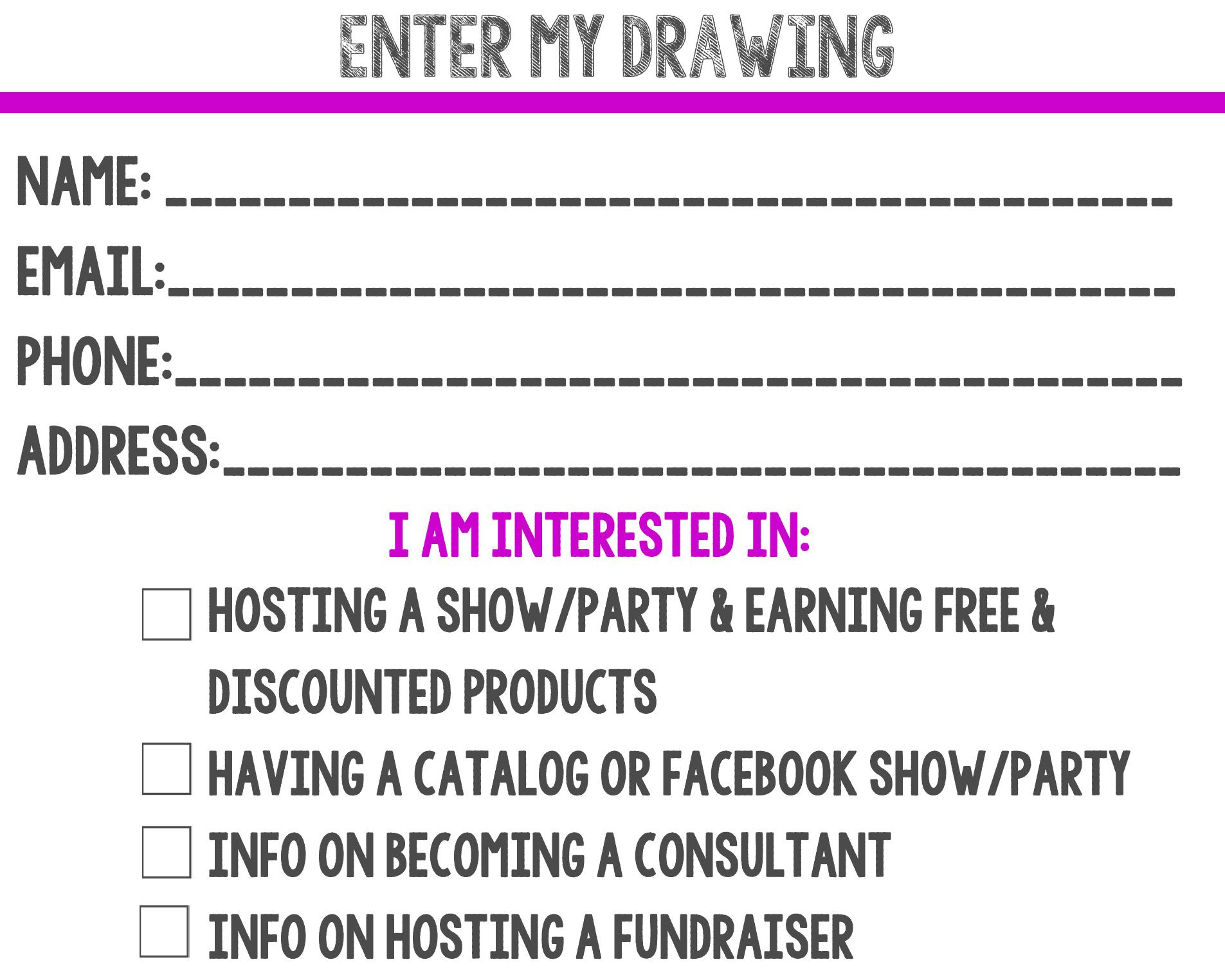 Printable Drawing Slip For Direct Sales Consultants