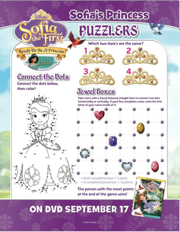 Disney Sofia the First Ready to Be A Princess Printable Puzzle Page