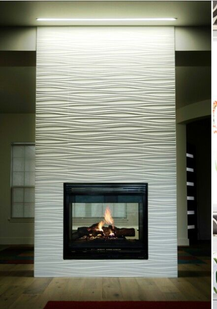 Wavy Fireplace Tiled Fireplace Wall Fireplace Remodel