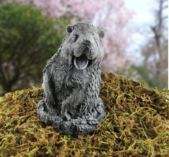 Hedgehog Concrete Statue  Cast Stone by WrenGifts on Etsy, $20.00