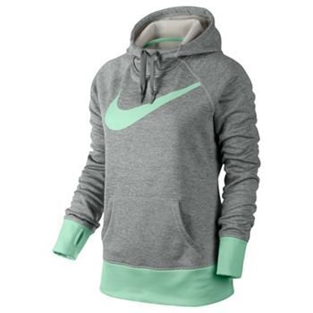 Nike Big Swoosh All Time Therma-FIT Hoodie Loving the color grey heather  green !