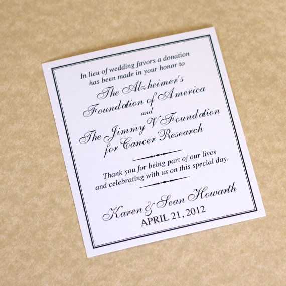 Charity Wedding Donation Card Looking For A Unique Favor Consider Giving Favors In Lieu Of