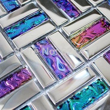 Iridescent seven color symphony crystal glass mixed stainless steel mosaic tiles for kitchen backsplash decoration HMGM1036 #kitchenbacksplash