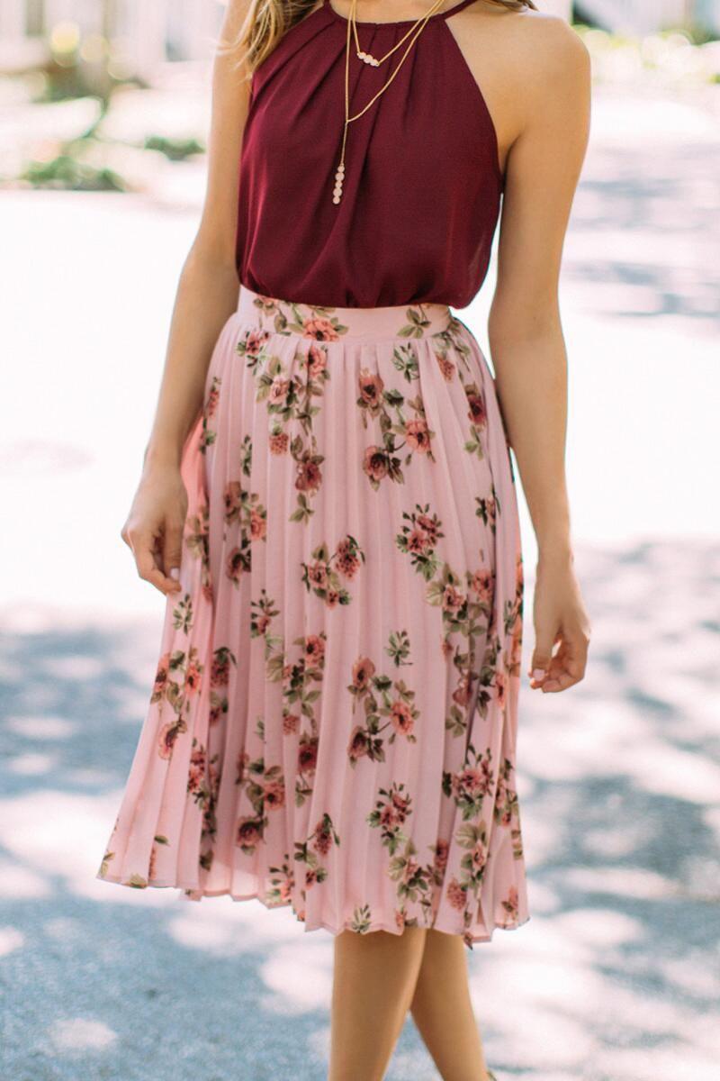 b926495ad191 Suzie Floral Pleated Midi Skirt - blush-cl | Clothing in 2019 | Midi ...