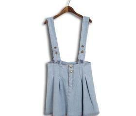 Simple Color Buttons Front Denium Dress with Straps