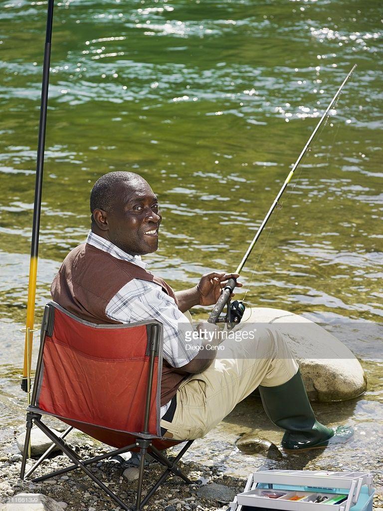 Smiling Black Man Fishing In Stream Fish Man Funny Fishing Shirts Funny Fishing Tshirts