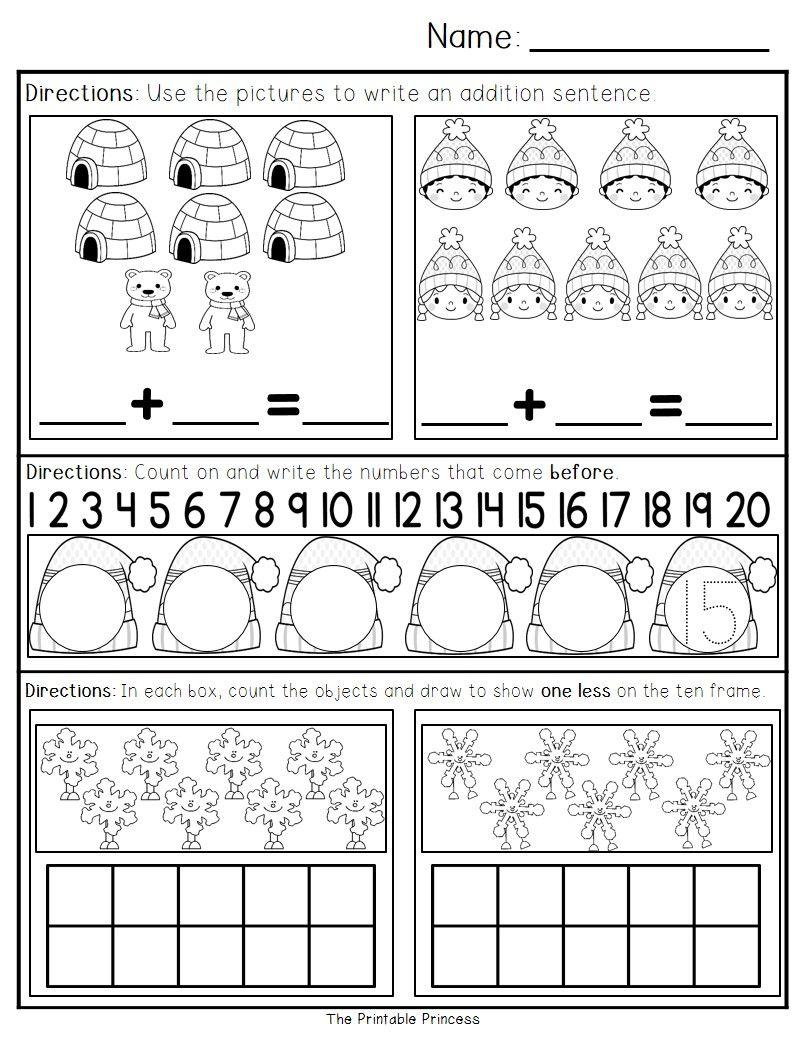 January Morning Work for Kindergarten | Matte, Morgonarbete och Dagis