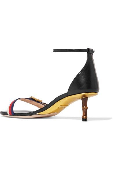 442b070914c Gucci - Sylvie grosgrain-trimmed leather sandals