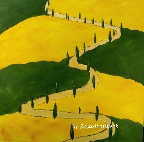 Das Acrylbild Toskana ist mit viel Liebe auf Leinwand gemalt.    Abschließend ist es mit Schutzfirnis bearbeitet , um das Bild vor Lichteinflüssen ...