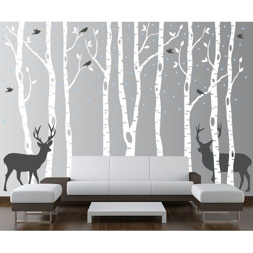 Found It At Wayfair Birch Tree Forest With Snow Birds And Deer Wall Decal