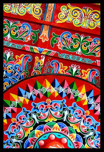 Painted Paper Costa Rican Oxcart Costa Rica Art
