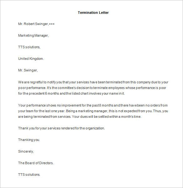 job termination letter templates free sample example format - employee termination letter template