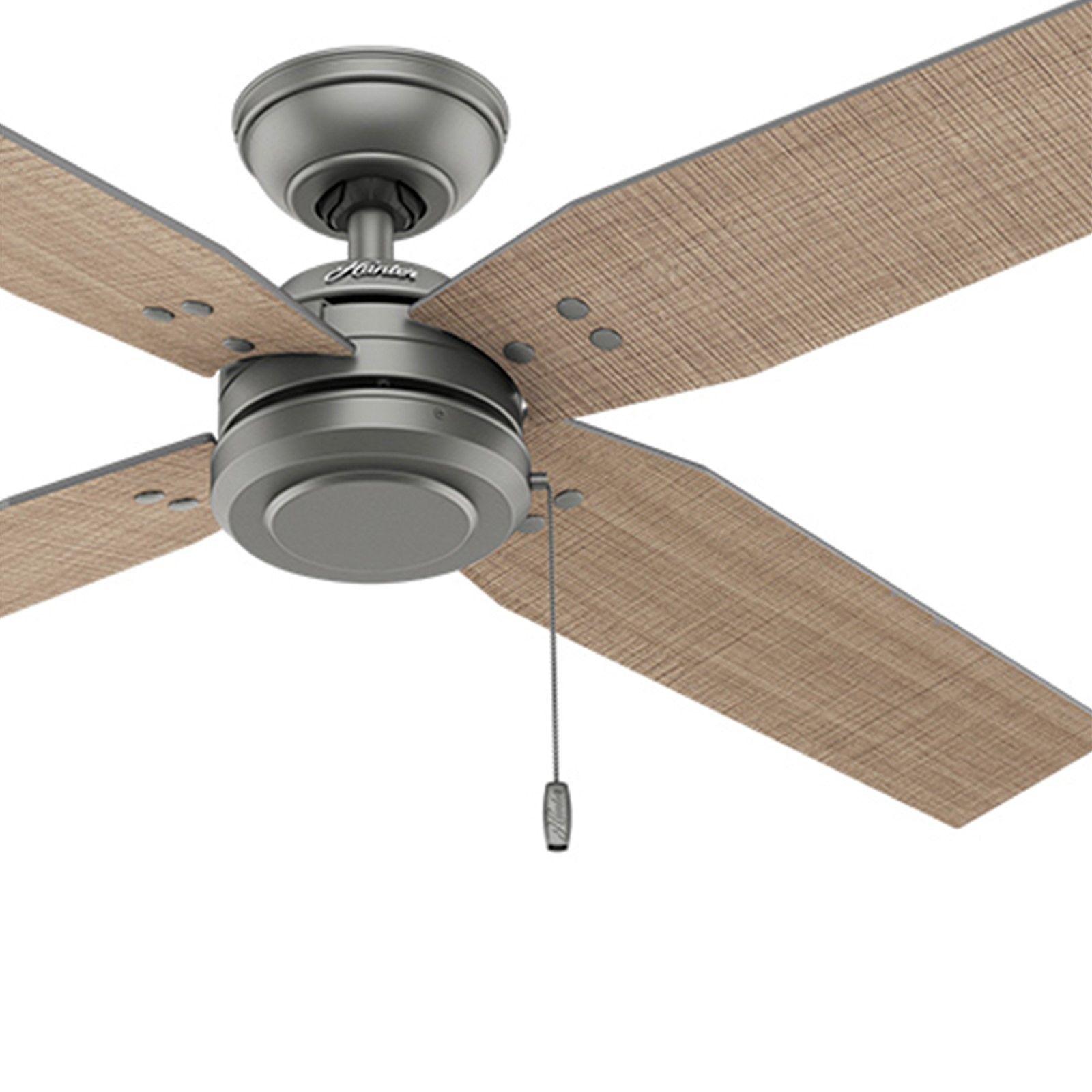 Hunter Fan 54 Inch Casual Matte Silver Outdoor Ceiling Fan W Pull Chain 4 Blades Ebay Ceiling Fan Outdoor Ceiling Fans Ceiling Fans Without Lights