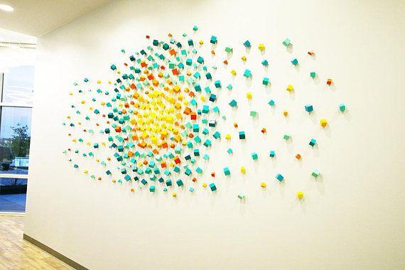 3D Wall Art Installation   Cubes   Commercial Art   Lobby Art   Wood ...
