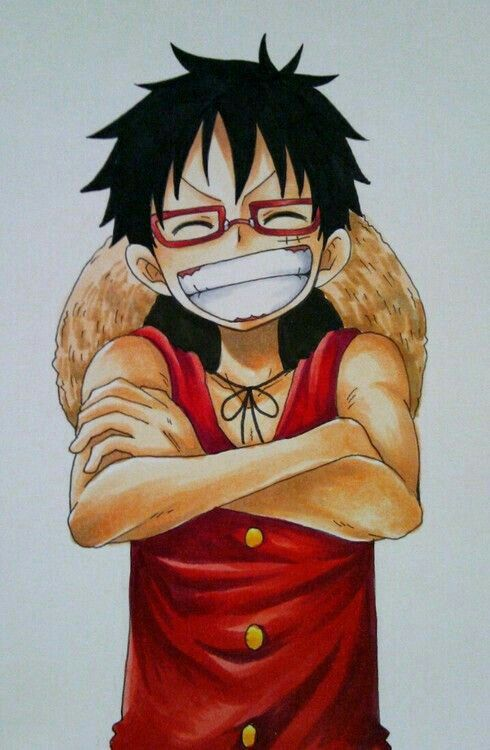 Monkey D Luffy Glasses Laughing Smiling One Piece One