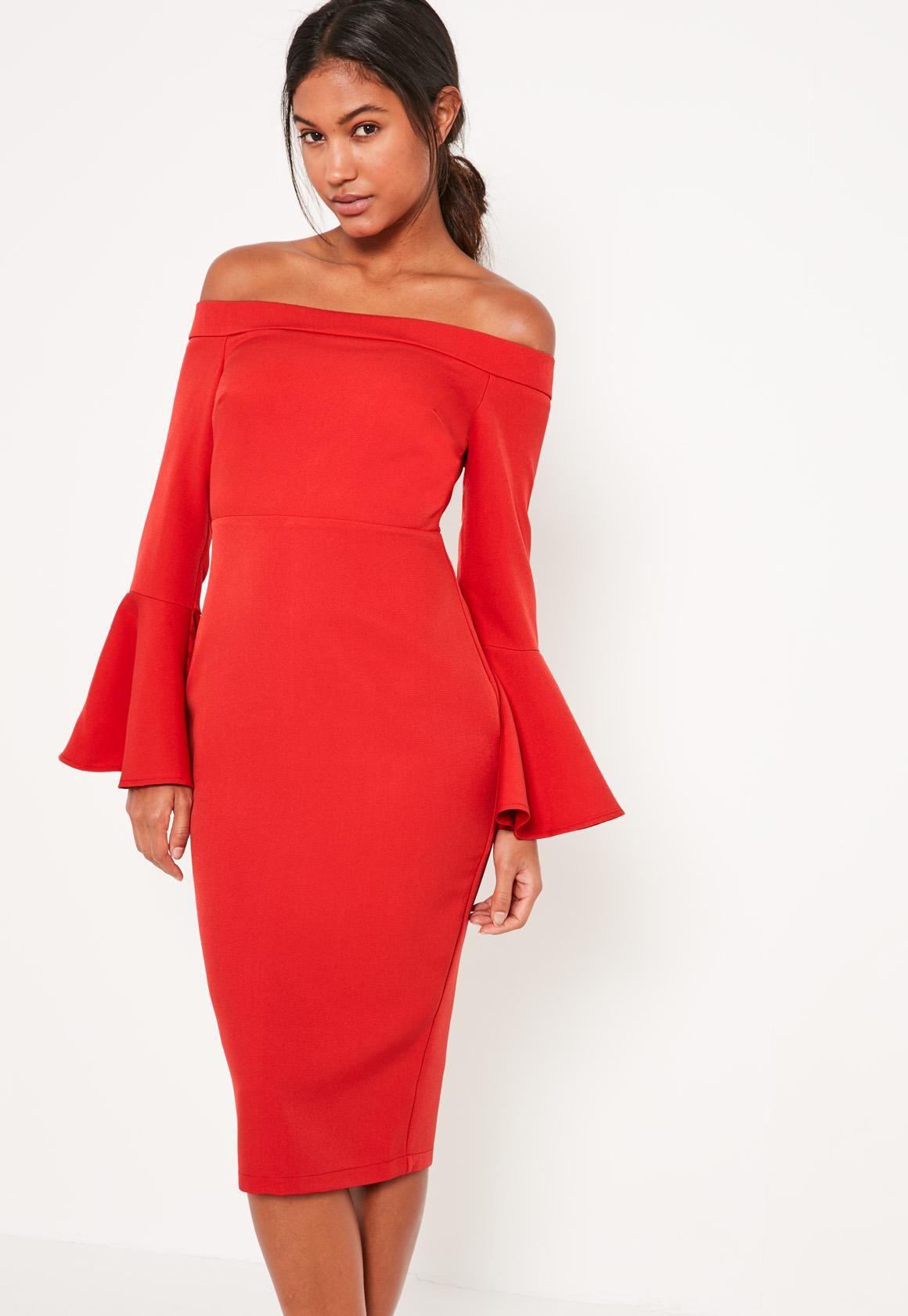 1d8740fa3754bd Missguided - Red Bardot Frill Sleeve Tailored Midi Dress
