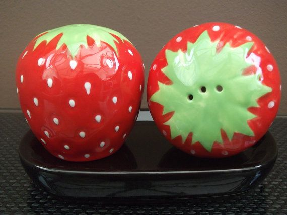 Strawberry Salt And Pepper Pots Hand Painted Shakers