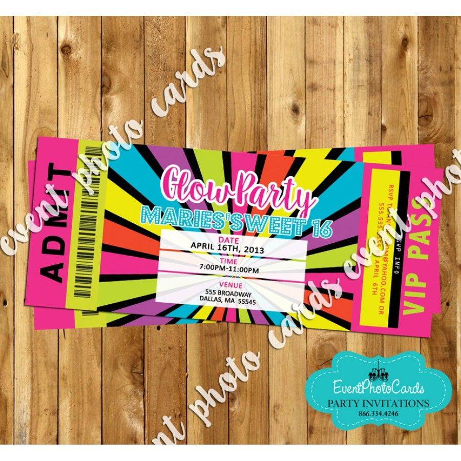 glow party ticket pass - 16 | glow in the dark party ideas 2016, Party invitations